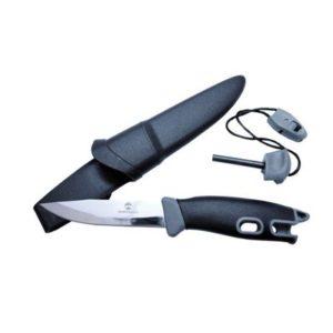 Faca Guepardo com pederneira e lâmina do tipo clip point half tang em aço inox 440 e revestimento emborrachado Kampy