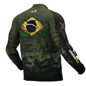 Camisa de Pesca Presa Viva Camuflada Brasil